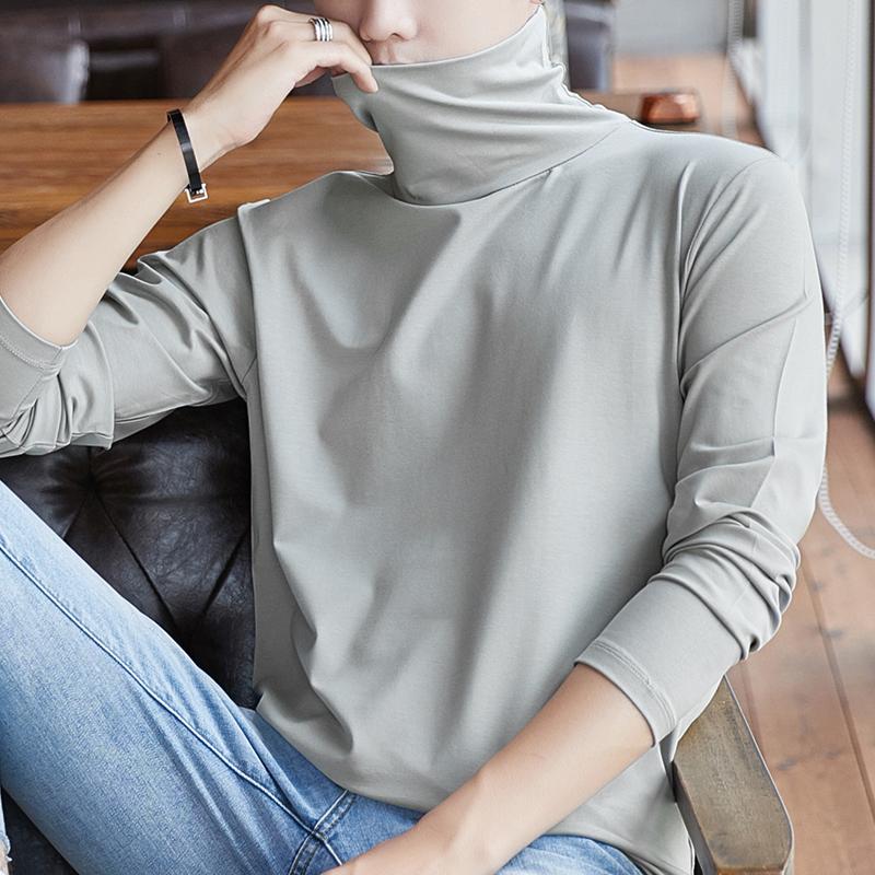 莫代尔长袖t恤男秋季纯色打底衫秋冬加绒半高领卫衣内搭潮流秋衣图片