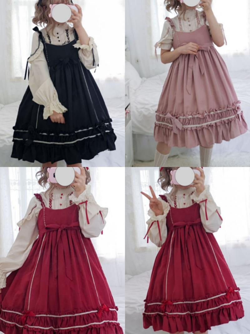 Lolita Dress, three friends dress, dark Lolita Dress, dark Lolita Dress, Japanese soft girl dress