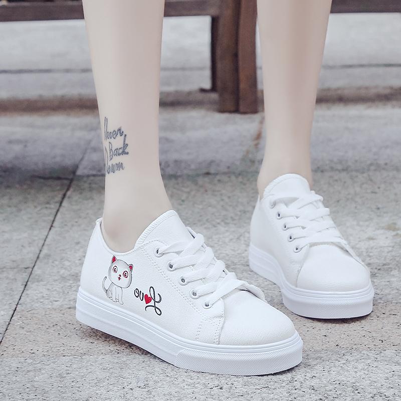 2018春季新款帆布鞋女百搭基础板鞋韩版小白鞋学生平底chic白鞋子
