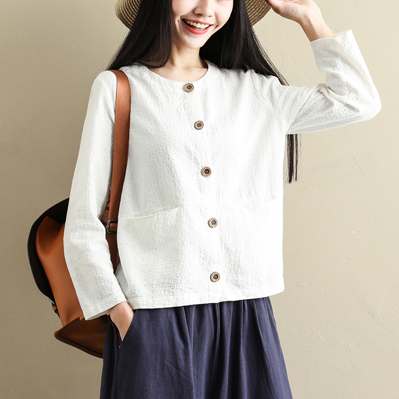 Spring and autumn long sleeve T-shirt womens new cardigan collarless loose casual one word collar autumn jacket literature and art white