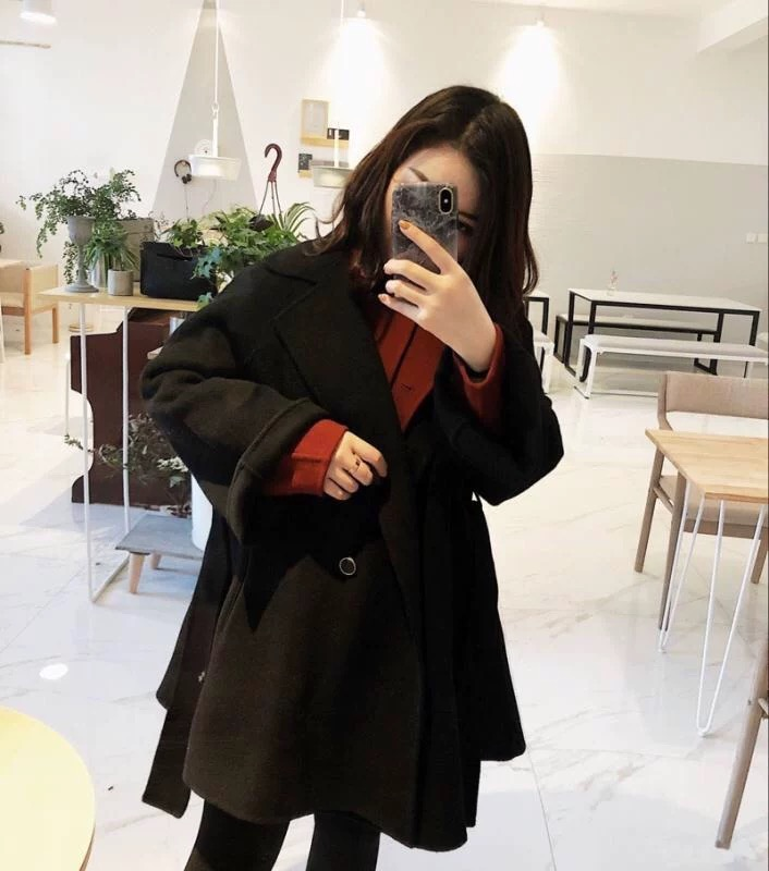 Off season special offer small double faced cashmere coat for women
