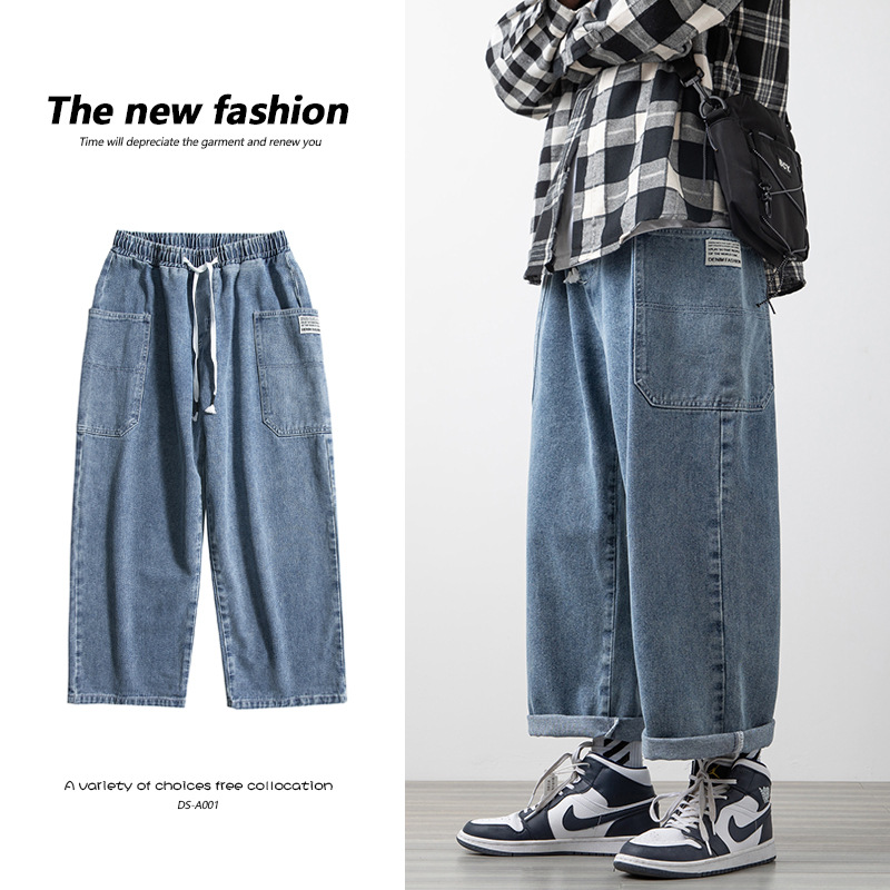 2021 spring new white wall wood floor large mens patchwork clothes large pocket Capri Jeans