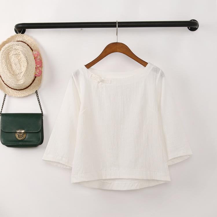 Shirt top short sleeve summer summer linen 2020 long sleeve 7 / 3 sleeve loose T-shirt cotton hemp ethnic style disc button