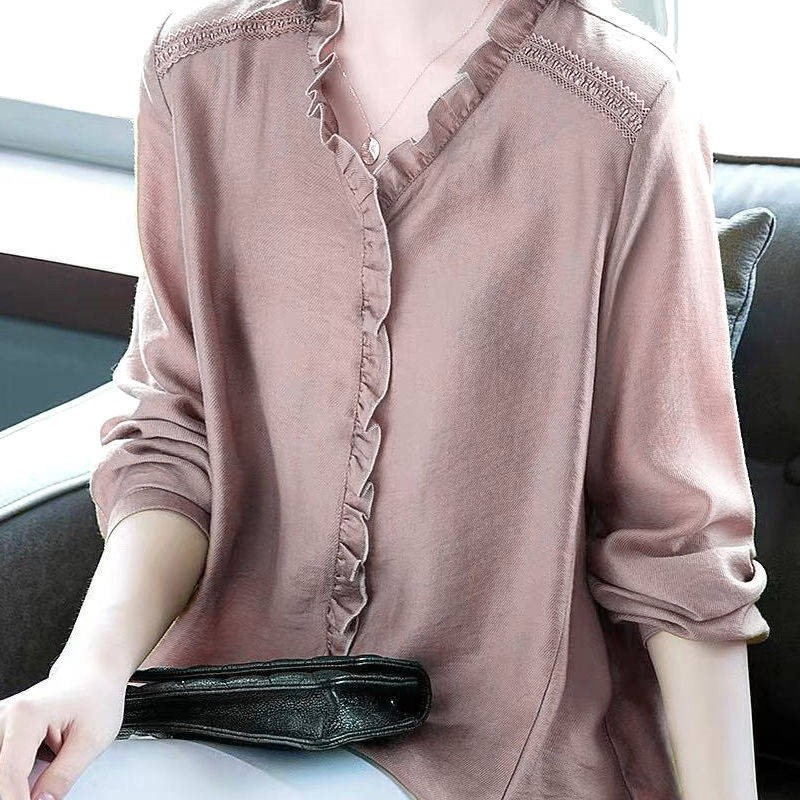 ? Large size wooden ear edge V-Neck long sleeve shirt womens simple loose pullover shirt 2020 early autumn new top women