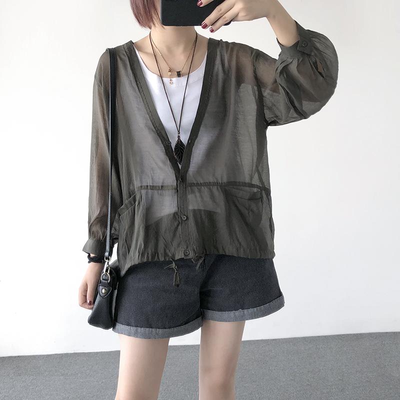 夏季新款透气薄款纯色V领长袖雪纺防晒衫开衫外套女防紫外线上衣