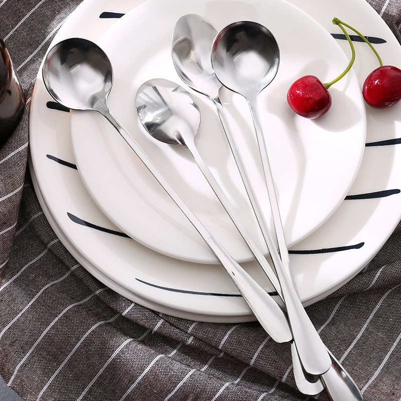 厨师水勺咖啡匙中式快餐幼儿园匙羹厨房酒勺不锈钢勺子儿童长把卡