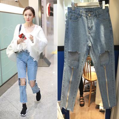 杨幂同款拉链牛仔裤A208P60【实拍图正在拍摄】4.3出货