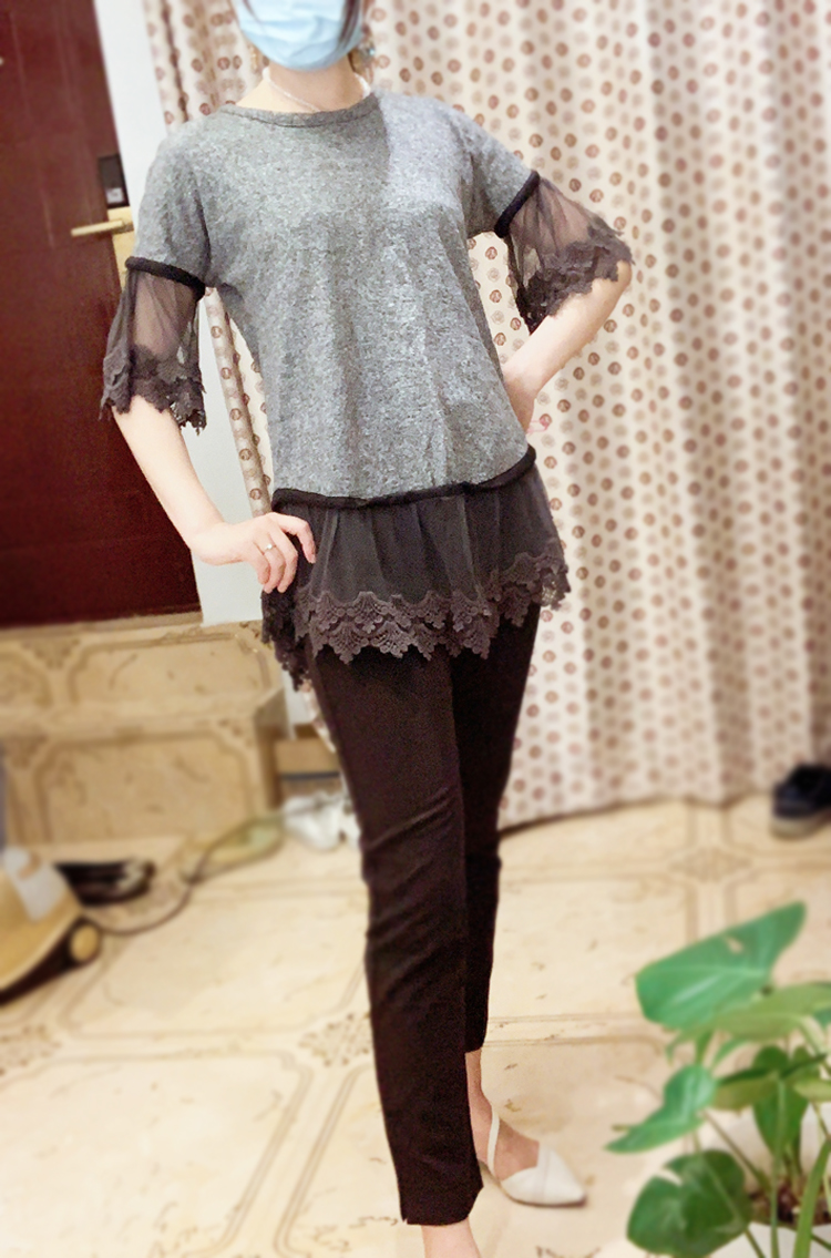 Original large swing pattern Sleeve Ruffle pure cotton double layer embroidered stitched dress middle skirt lace shirt new product
