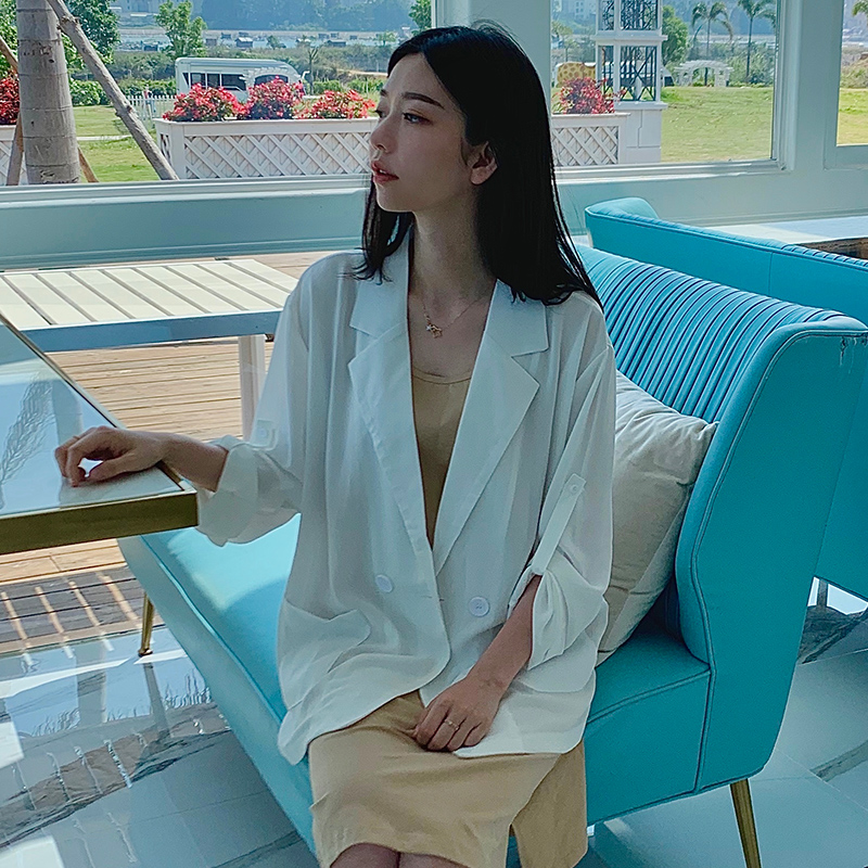 Suit coat womens top 2020 new summer thin small loose thin casual fashion air-conditioning shirt