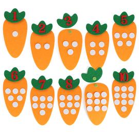 幼儿园区域十以内点数胡萝卜数字配对活动材料不织布手工教具玩具图片
