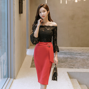 9686【高档女装】#2018新款春装韩版气质长袖蕾丝修身系...
