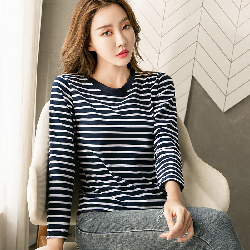 Large size mm200kg long sleeve autumn 2020 new style cover belly show thin foreign style top pure cotton stripe t-shirt female fashion