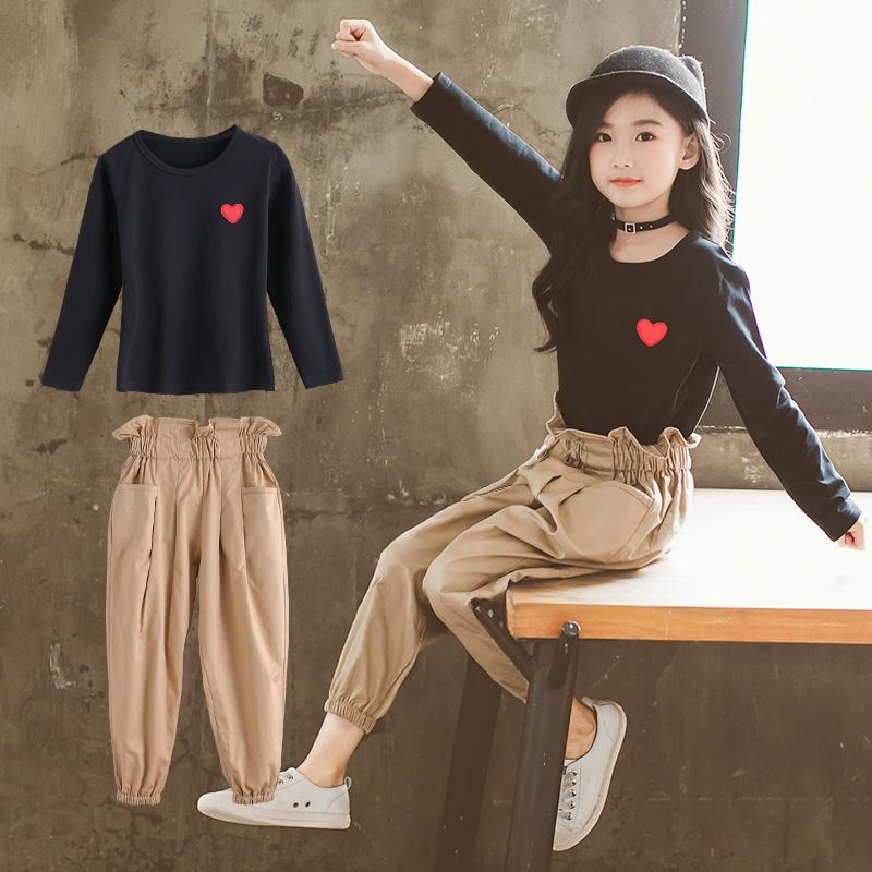 女童春秋花苞裤套装2018新款韩版儿童洋气小女孩时髦网红两件套潮