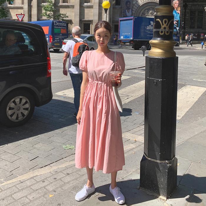 韩国直发mocobling官网正品代购 夏日少女粉色抽绳收腰纯棉连衣裙