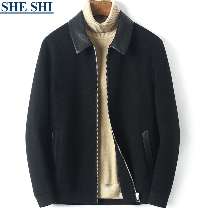 Autumn and winter new double-sided cashmere coat men's short loose leather lapel wool woolen cloth double-sided woolen cloth jacket