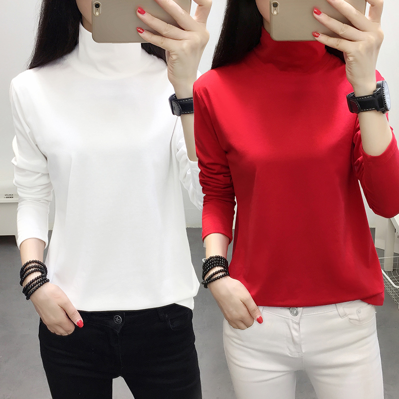 Early autumn clothes 2018 new large long sleeve T-shirt womens autumn fat mm high neck Korean loose bottomed shirt upper clothes