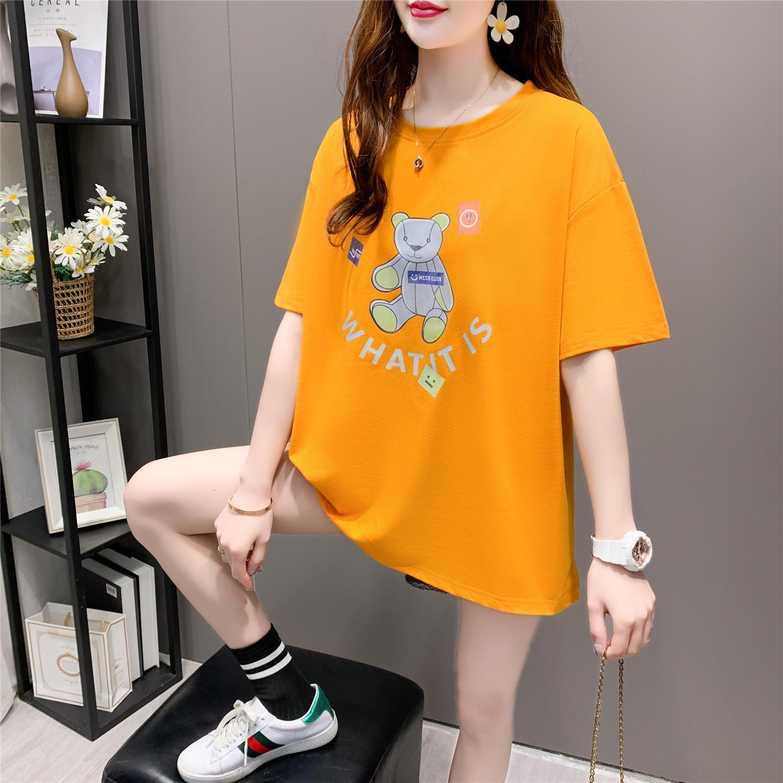 Short sleeve t-shirt female 2021 summer new large loose medium length Korean ins large foreign style half sleeve top