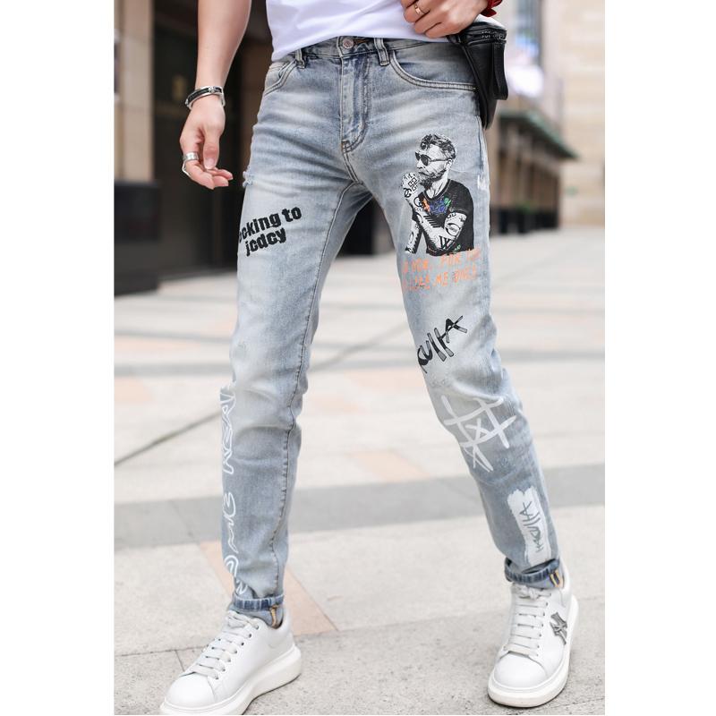 男士2020春季新款欧美个性潮流修身小脚长裤潮牌印花破洞牛仔裤男