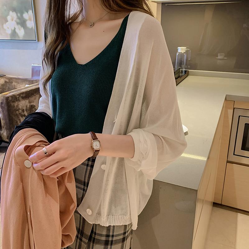 2019秋装新款长袖冰丝针织女空调衫需要用券