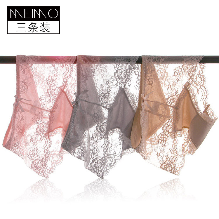 3 pairs of mid waist womens underwear lace transparent sexy mesh thin perspective fat mm large womens triangle underpants