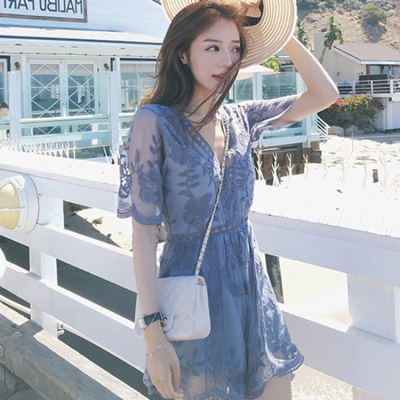 Hong Kong 2020 summer new bodysuit lace cut out womens ins cut out fashion cut out V-neck sexy BODYSUIT