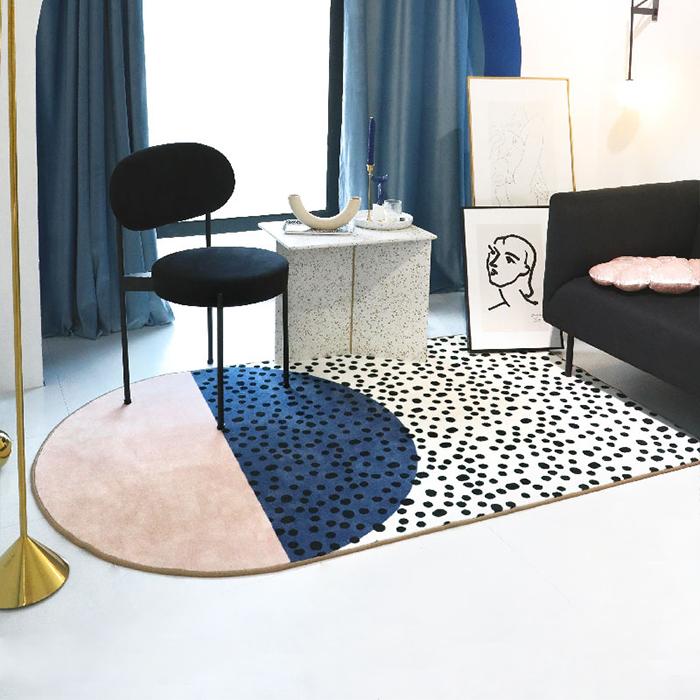 青山美宿原创北欧地毯后现代设计师艺术客厅轻奢ins卧室茶几垫毯