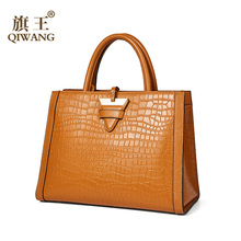 Qiwang genuine leather lady bag 2019 new light luxury killer bag crocodile tattoo layer cowhide handbag for middle-aged mother