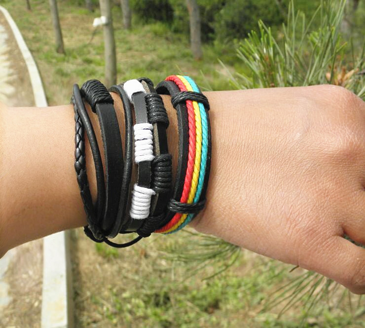National Style Hand Woven Leather Bracelet Korean version individual multilayer three piece set bracelet for women and men lovers