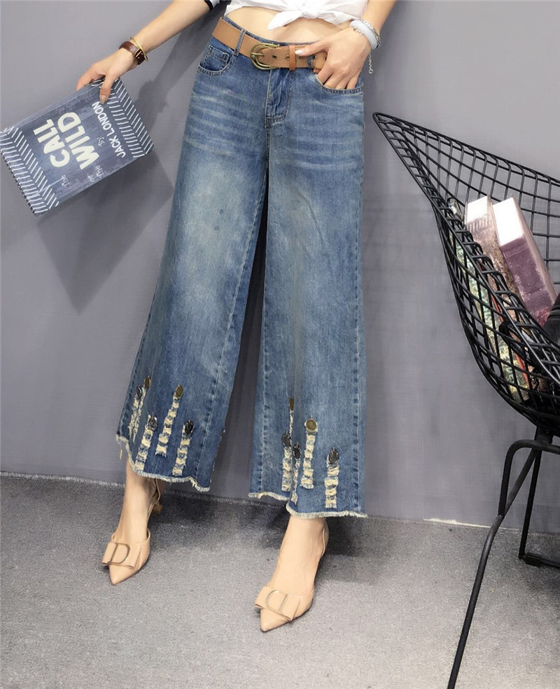 Ripped High Waist Wide Leg Jeans for womens 2019 summer thin loose large European straight flared Pants Capris