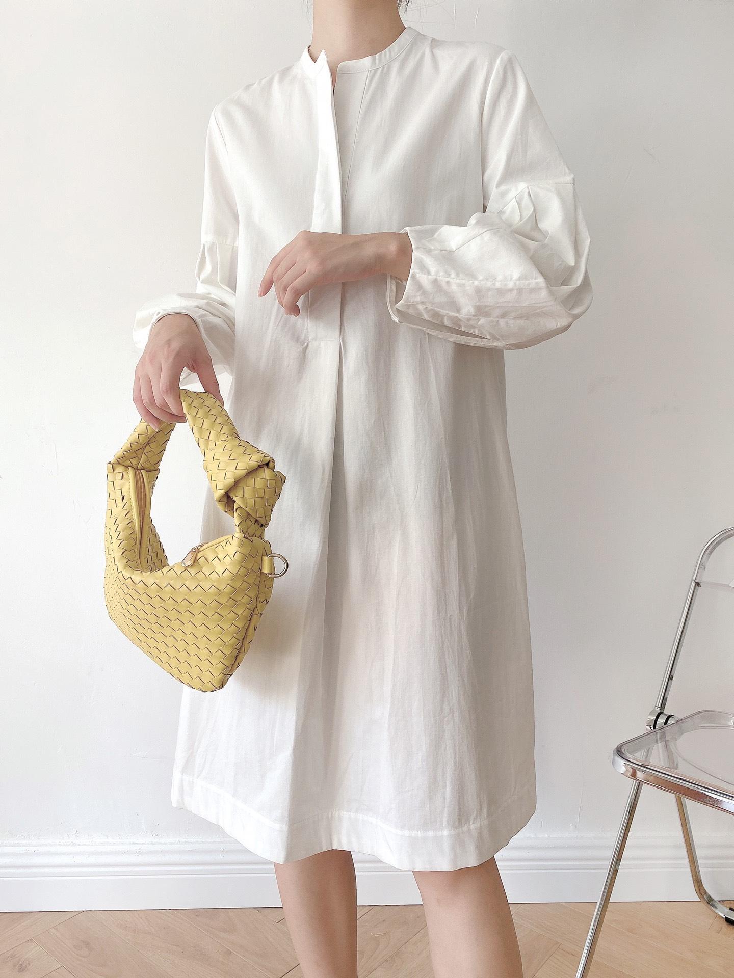 2021秋装欧美小众新款ins超火纯色褶边袖宽松白色连衣裙A字衬衫裙