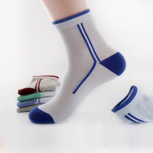 青少年春夏季中筒男童儿童中大童网眼超薄纯棉初高中学生运动袜子