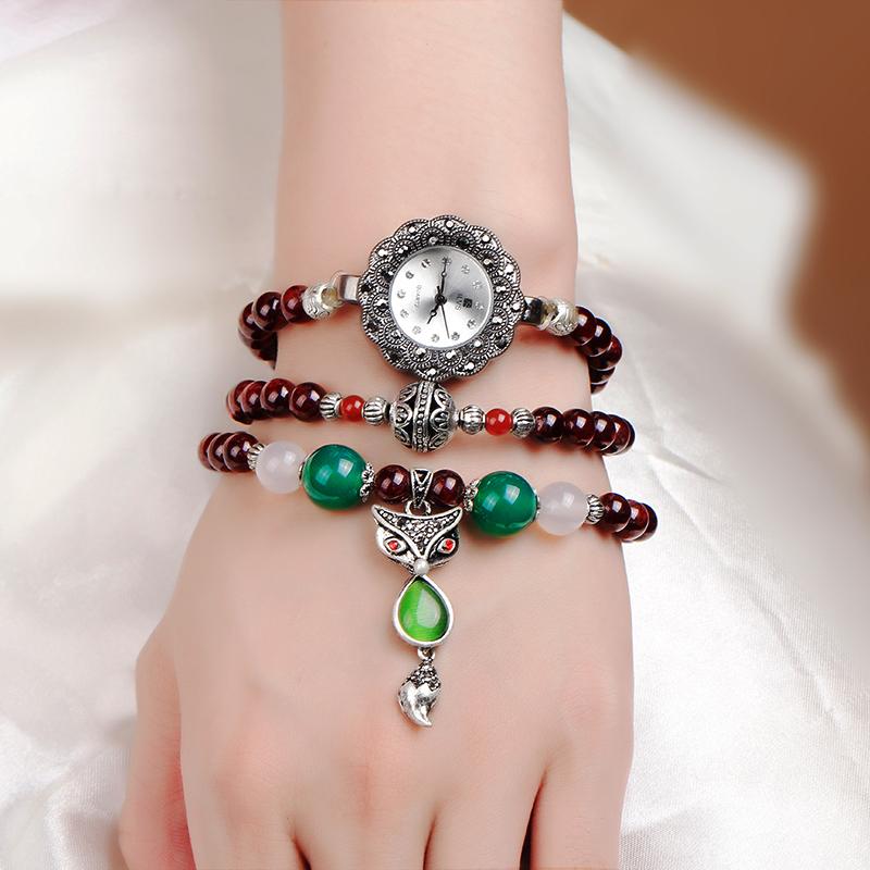 包邮学生手链手表女缠绕石榴石水晶玛瑙手工复古时尚石英表iLvs