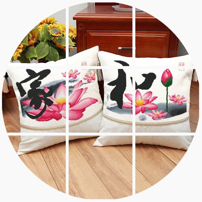 包邮一对十字绣抱枕中国风新款标准印花客厅家和万事兴荷花家和