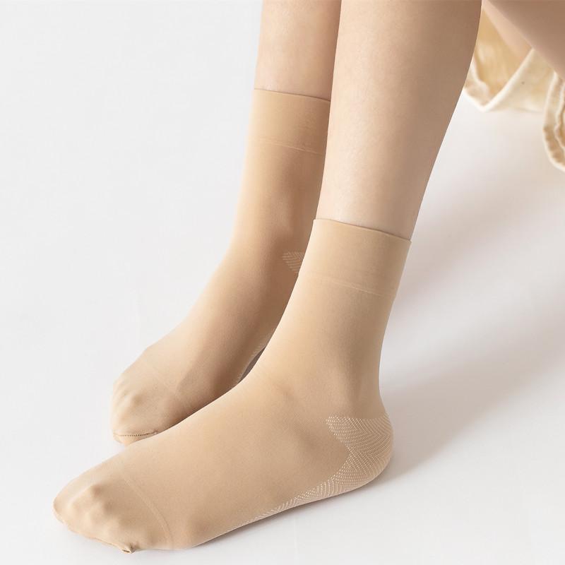 10双棉底丝袜女纯棉底肉色袜子女加绒加厚中筒耐磨春秋冬款短袜子12-02新券