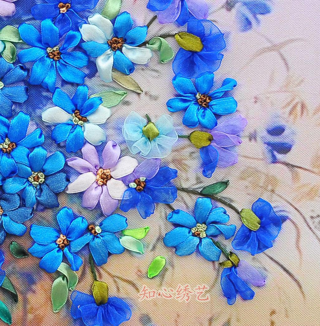 Новейшие 3D печатных крестом ленты вышивки стиле масляной живописи гостиной картины ароматических синий язык DIY-мерном вышивка от Kupinatao