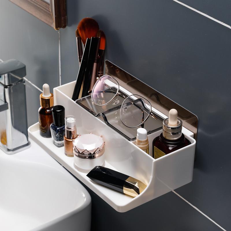 卫生间家居用品化妆品置物架浴室收纳架壁挂洗漱台免打孔免钉吸盘