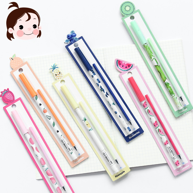 清讓 創意水果中性筆0.5黑色筆芯學生用品水筆可愛韓國辦公文具