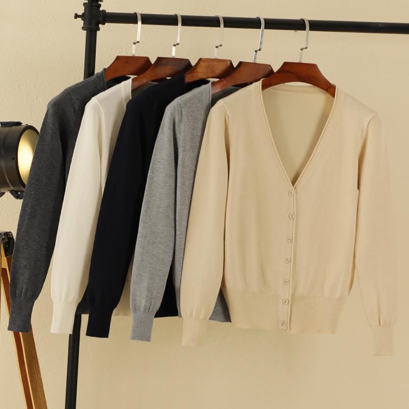 韩版外搭春秋季长袖针织衫开衫女早秋短款薄款夏毛衣上衣早春外套