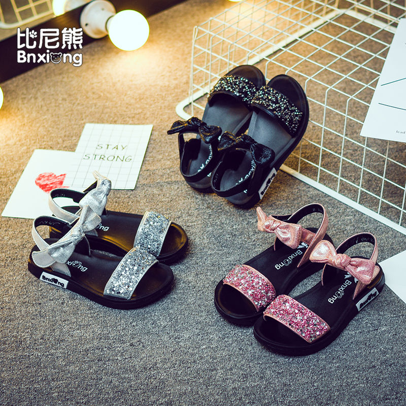 Girls sandals Sequin Princess Shoes New South Korean bow girls shoes Zhongda childrens soft soled sandals