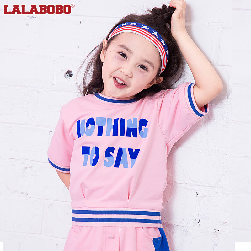 Labobo childrens clothes summer 2018 new middle school and university childrens color letter color block pullover | l02b-knts22