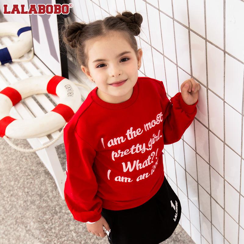 Labobo childrens winter new letter round neck Pullover Sweater big girl fashion | l01d-kzts13