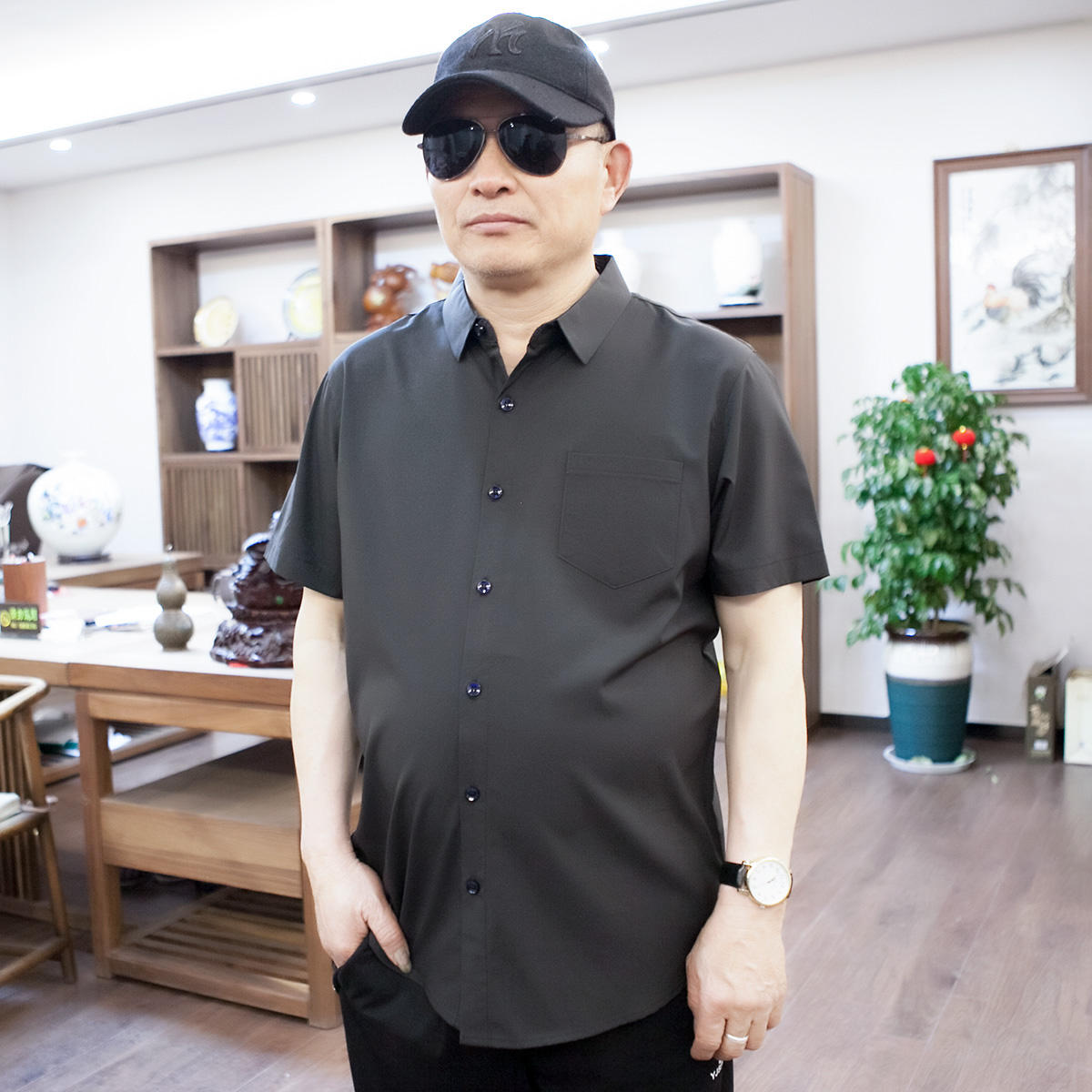 Mens earth Shirt Short sleeve casual plus fat large size loose fat father half sleeve shirt for middle-aged and old people solid color thin