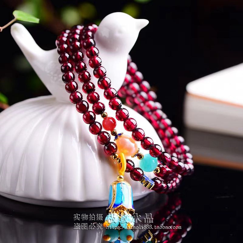 Natural Garnet Bracelet multi-layer 3-ring with Tianhe Shinan Red Pearl 925 silver jewelry birthday Valentines Day gift