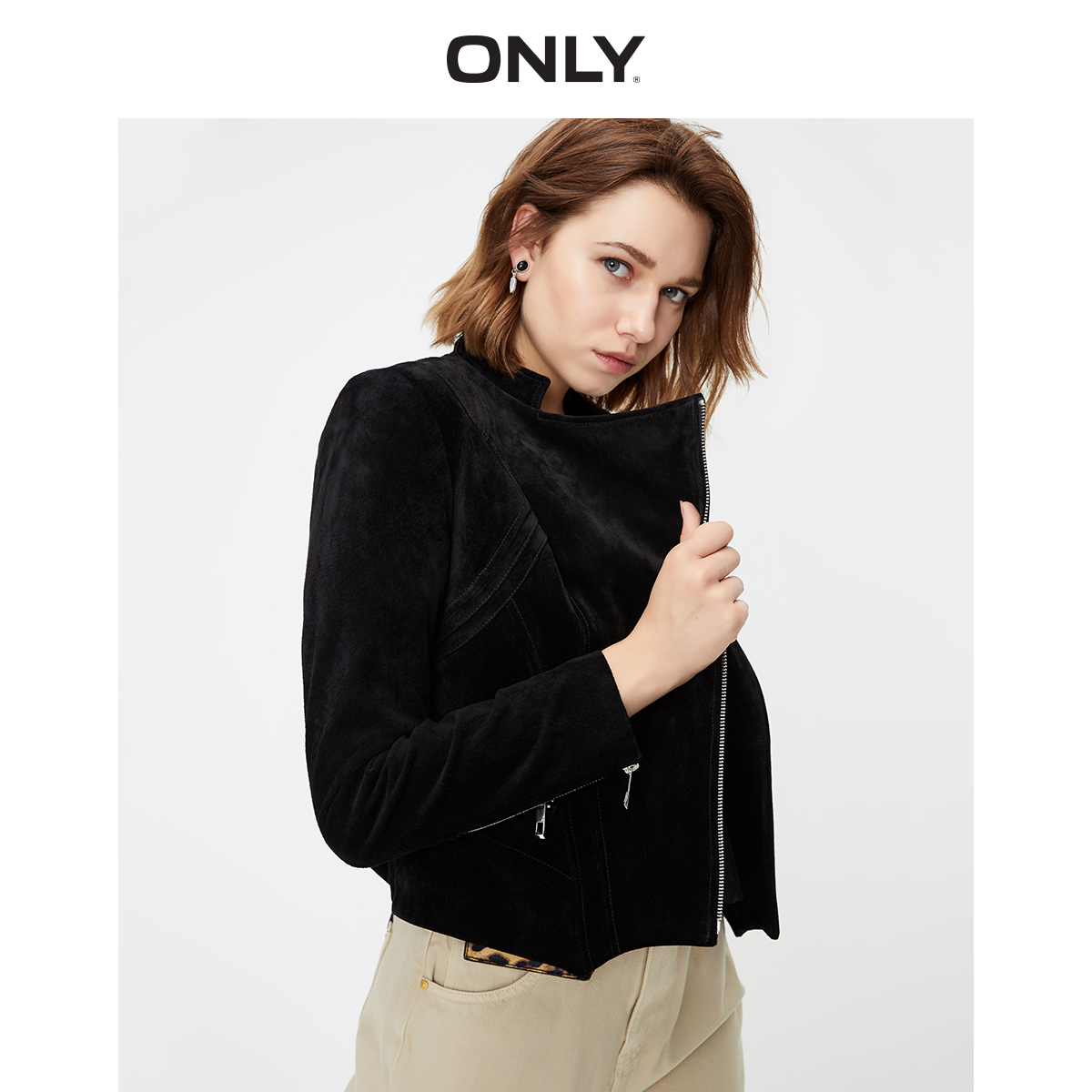 ONLY summer new style fashion temperament Slim lapel suede short leather jacket female 119310528