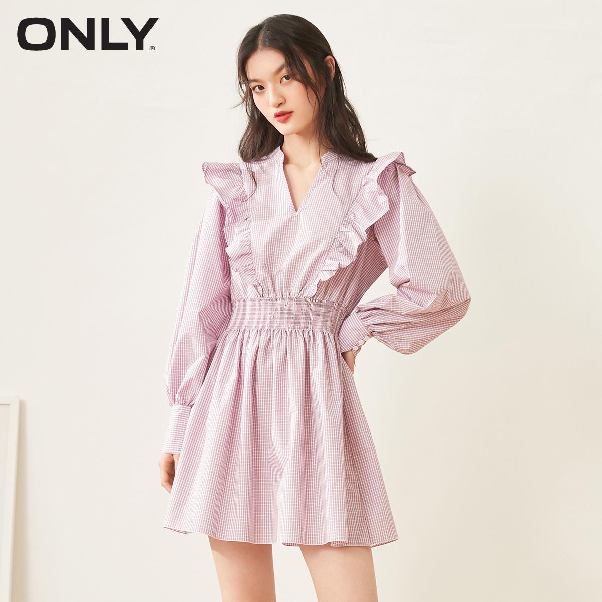 ONLY春季新款时尚气质收腰花边格子短款连衣裙女|120307040