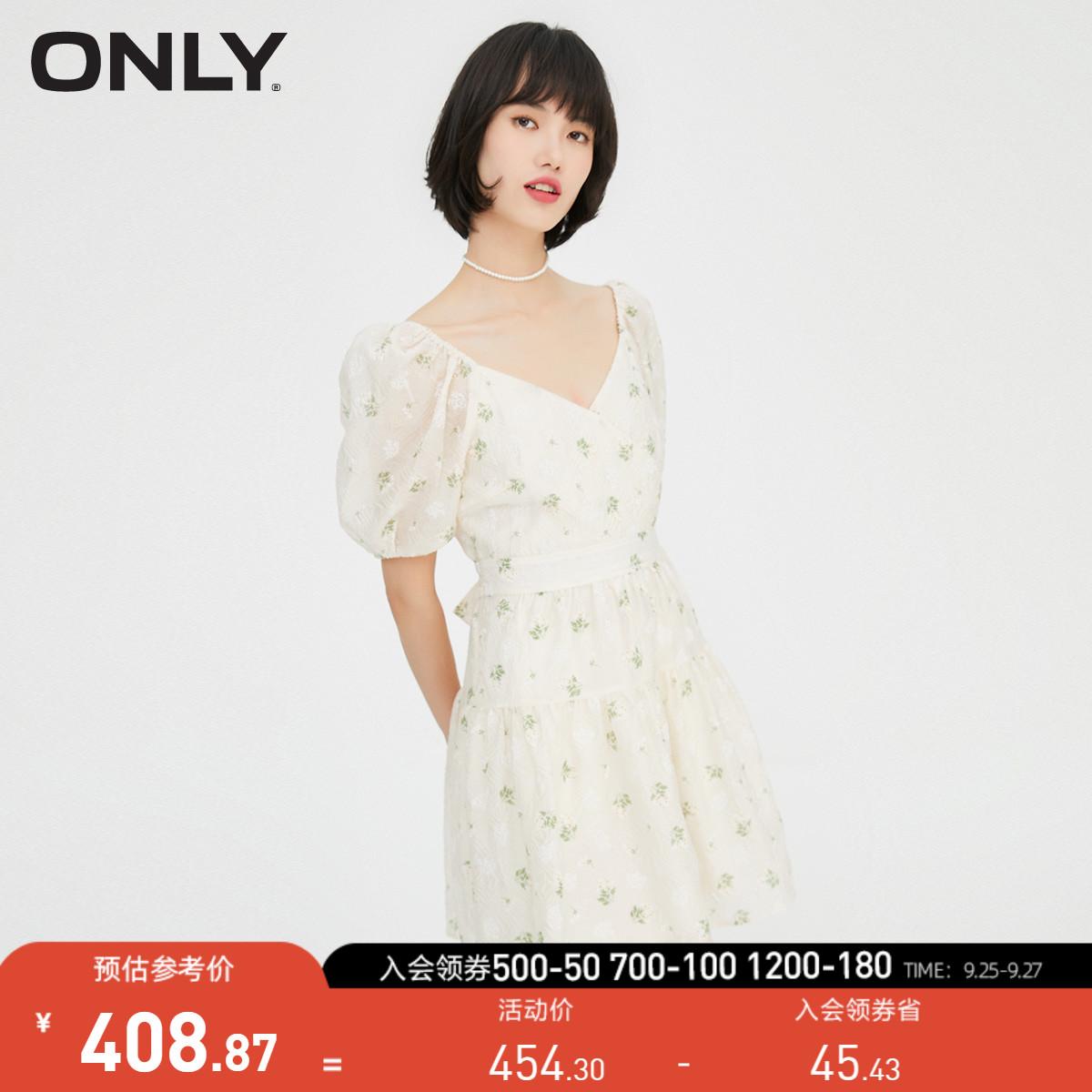 ONLY2021秋季新款碎花图案V领泡泡袖设计系带连衣裙女 121307039