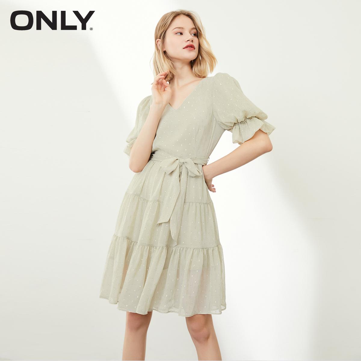 ONLY春季新款公主袖腰带装饰设计雪纺连衣裙女|120307020