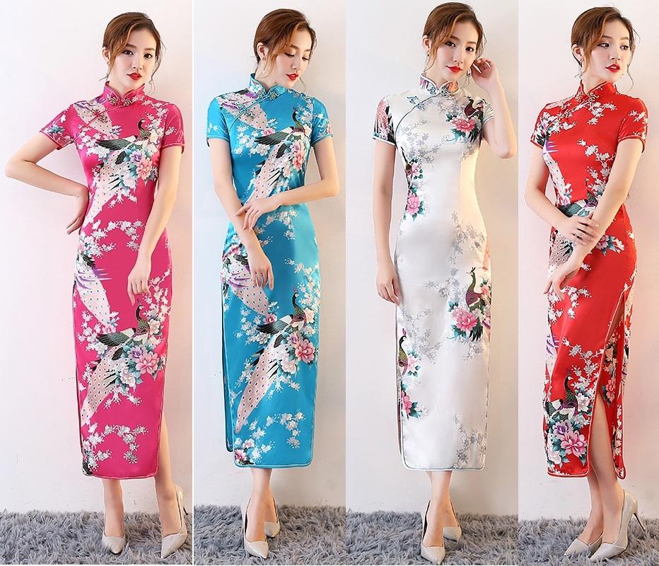 Ретро улучшение длинная модель шелковых cheongsam большой двор обтягивающий стройнящий год может производительность церемония инструмент cheongsam тонкий платье