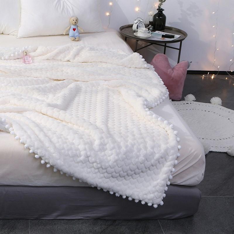 2018仔普女神系仿兔兔绒毛毯双层加厚羊羔绒毯子珊瑚绒午休小毯子