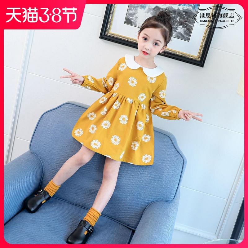 女童连衣裙春秋季新款韩版纯棉布可爱娃娃领长袖百褶公主裙中大童